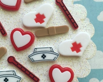 SALE - Nurses Cabochon Set - Embellishments - Badge Reel Cabochon Set 5 pieces - Medical Resin Flatbacks