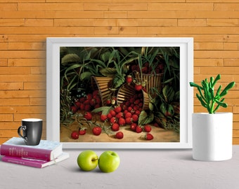 Strawberry Theme Wall Art Prints