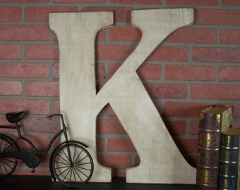 Large Letter Wall Decor Wedding Letter Rustic Letter Country Home Decor Painted Letter Wooden Letter K Wood Letters for Nursery Big Letter