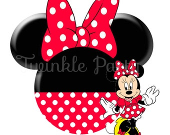 Minnie Mouse Digital Image for T shirt, Printable Iron On Transfer, Sticker custom Birthday Shirt image