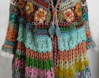 S u p e r  offer! Crochet Hippie Jacket, 70s style,old lace and effektive Details, Slow fashion, Exclusive dress, Frida Kahlo clothing
