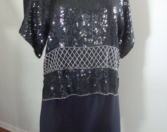 Vintage Beaded Blouse Crop Style S/M