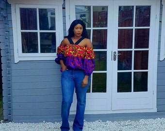 The Kitan off-shoulder multicolored blouse