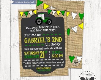 Tractor Birthday Invitation Printable / Tractor Party Digital Invitation