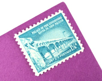 25  Palace of the Governors Postage Stamps - 1 1/4 cent - 1960 - Unused - Quantity of 25 - Santa Fe, New Mexico