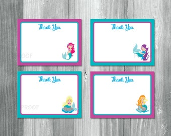 Mermaid Thank You Cards, Mermaid Thank You Notes, Mermaid Notecards, Mermaid Note Cards, Under the Sea Thank You Cards, Mermaid Thanks