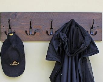 Wood Coat Rack, Wall-Mounted Coat Rack With 5 Triple Hooks