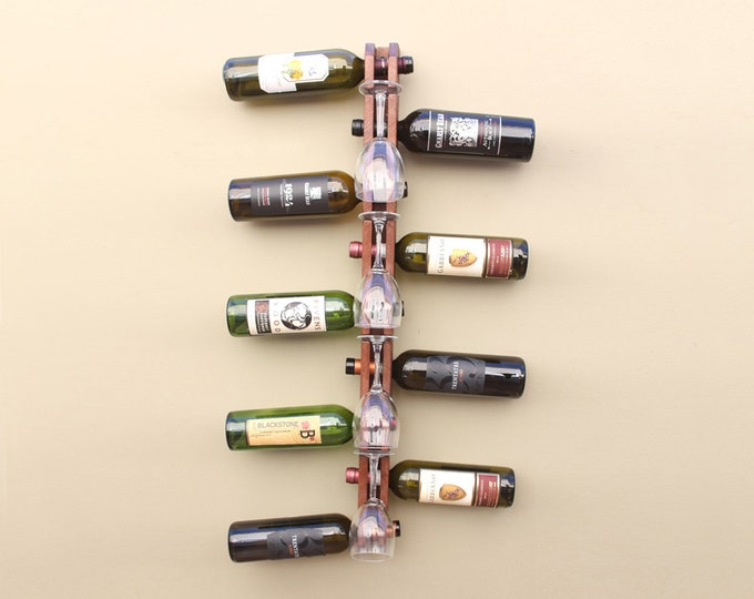 Unique Vertical Wall Wine Rack | Wine and Glasses Wood Wine Rack