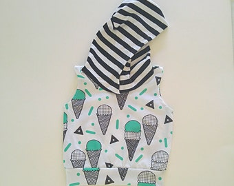 Mint Ice Cream Cones//Sleeveless Hoodie//Baby and Toddler