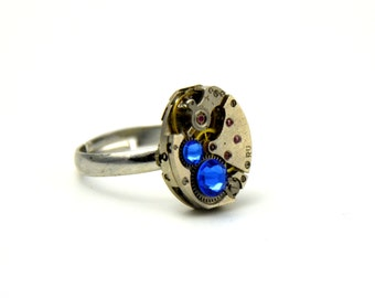 Steampunk Jewelry Ring Vintage Jeweled Watch Movement Ring, BLUE Swarovski Wedding Anniversary Mothers Day - Steampunk Jewelry by edmdesigns