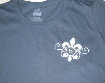 Monogrammed Women's Cut Fleur De Lis T-Shirt
