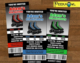 Personalized Roller Skating Invitation ticket - Boys Roller Skate Birthday invites - Roller Skate Party - Free Roller Skate Thank You card!