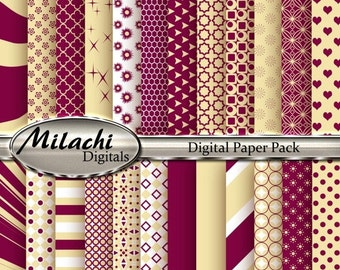 70% OFF SALE Maroon and Vanilla Digital Paper Pack, Scrapbook Papers, Commercial Use - Instant Download - M95