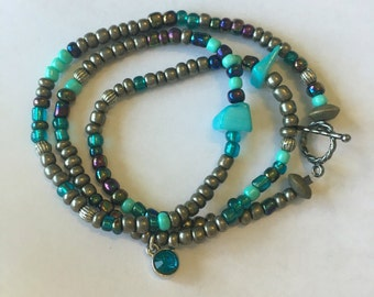 Blue gem wrap bracelet