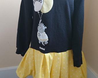 Pittsburgh Penguins Dress - Black and Gold Girls Pittsburgh Penguins long sleeved t-shirt twirly Party Dress size 4/5