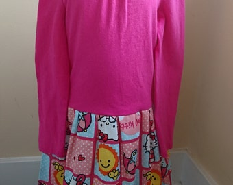 Hello Kitty Dress - Pink long sleeved Hello Kitty Rainbow Sunshine t-shirt Party Dress toddler size 5T