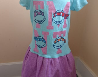 TMNT Dress - Blue and Purple Teenage Mutant Ninja Turtle Tshirt Party Dress Size 4/5