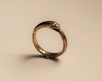 Ouroboros ring handmade brass wedding engagement snake ring
