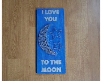 Home Décor String Art  'I Love You To The Moon'