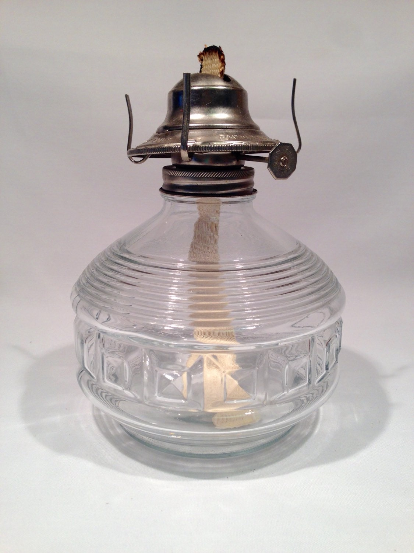 kaadan ltd set of 2 clear glass oil lamp bases vintage. Black Bedroom Furniture Sets. Home Design Ideas