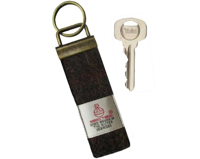 Harris Tweed Chocolate Brown & Russet Pure Wool Keyring On Chunky Metal Key Fob