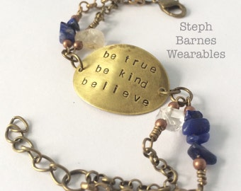 Be kind be true believe bracelet in bronze with citrine and lapis detail