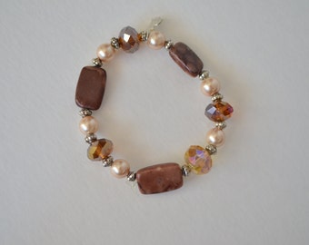 Vintage Sterling Silver Genuine Brown Gemstone Crystal Faux Pearl Stretchy Bracelet  Free shipping in the U.S.