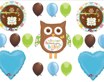Whoo Loves You Baby Shower Boy Owl Balloons Decorations Supplies