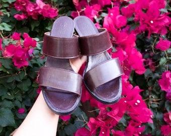 Vintage Leather Blocked Heel Sandals Size 7