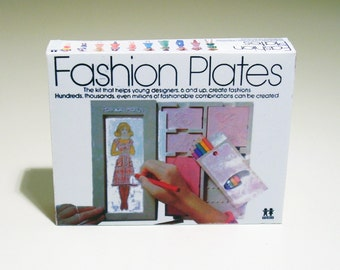 Fashion Plates Box -  1:6 scale Playscale Accessory for Doll Dioramas - 1970s 1980s Barbie Blythe Diorama toy - Minature vintage box replica