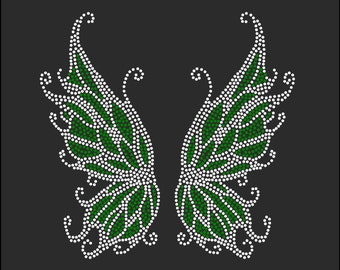 Tinker Bell WINGS You Choose Color Rhinestone Iron On Transfer Hot Fix Bling