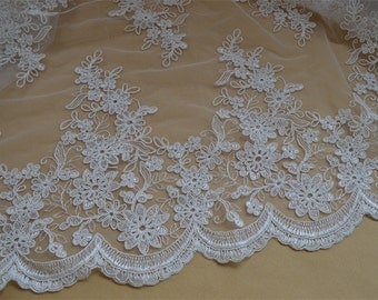 Wedding Lace Fabric, Embroidery Corded Bridal Lace Fabric, Ivory Floral Lace Fabric, 53 inches Wide for Dress, Costume, 1 Yard
