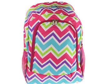 Monogrammed Multi color Chevron backpack for her, School Bookbags, Pink Multil Backpack