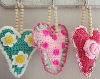 crochet hearts pendant