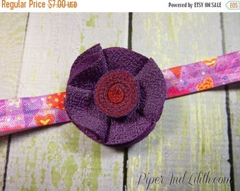SALE 60% OFF Headband Valentine's Day Hearts Red and Purple
