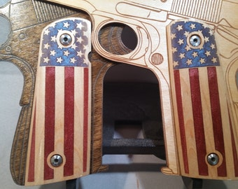 United States Flag inlaid 1911 Full Size Maple grips