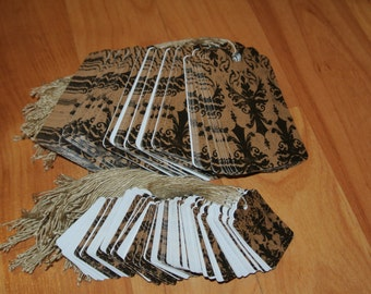 lot of 200 damask price tags 100 small / 100 large strung tags