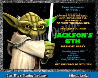 Yoda Invitation, Star Wars Invitation, Star Wars Birthday Invitation, Star Wars Invitation, Printable Yoda Invite, Digital File