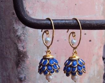 Artisan Made Floral Cluster Drop Paachi Earrings - Lapis
