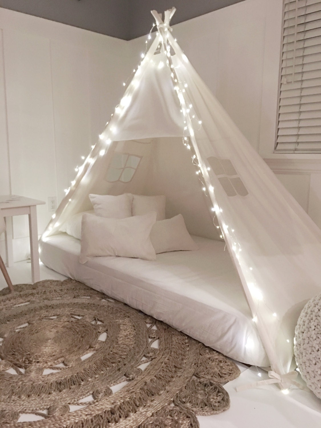 Play tent canopy bed in natural canvas for Canopy over bed