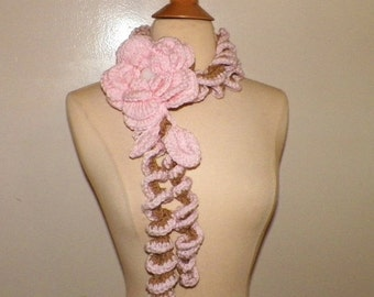 On Sale- Pink Scarf Lariat  Crochet  Flower Rose Brooch Necklace Sprial Floral Accessory Freeform Spring Fashion Long Skinny