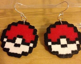 8-bit pokeball earrings