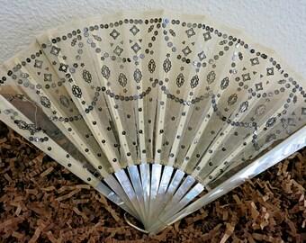 Antique Ladies Fan, Mother Of Pearl Fan, Vintage Ladies Fan, Stern Bros New York, Antique Fan, Victorian Fan