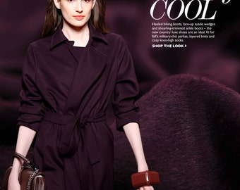 150CM Wide 540G/M Medium-long Dark Purple Wool Fabric for Overcoat Coat for Autumn and Winter