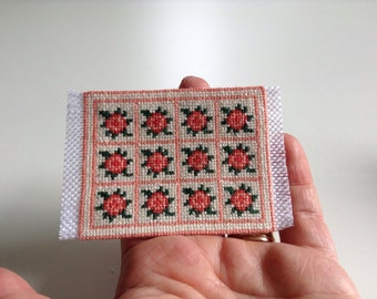 Miniature hand embroidered carpet, 1/12 scale/ Miniature rug/ Dollhouse rug/ Dollhouse carpet