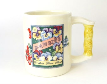 Vintage Pansies (you can write home about) mug