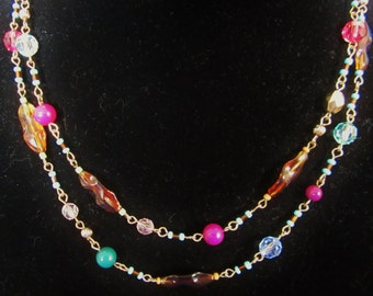 "Beaded Necklace 38""- with round solid color beads,faceted Swarovski crystal beads,venetian seed beads & filigree metallic beads. Great gift!"