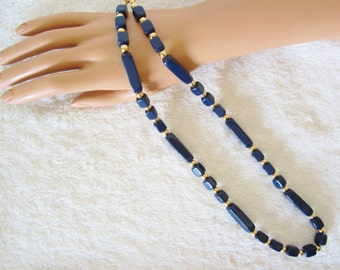 TRIFARI 1950's-1960's Navy-Blue Beaded Necklace-admired producer of costume jewelry in the USA. Lucite & gold-tone spacer beads. Great Gift!