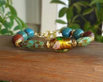 Rose in gold foil bead bracelet