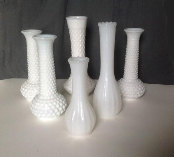 Vintage Milk White Glass Flower Vases Six Vases